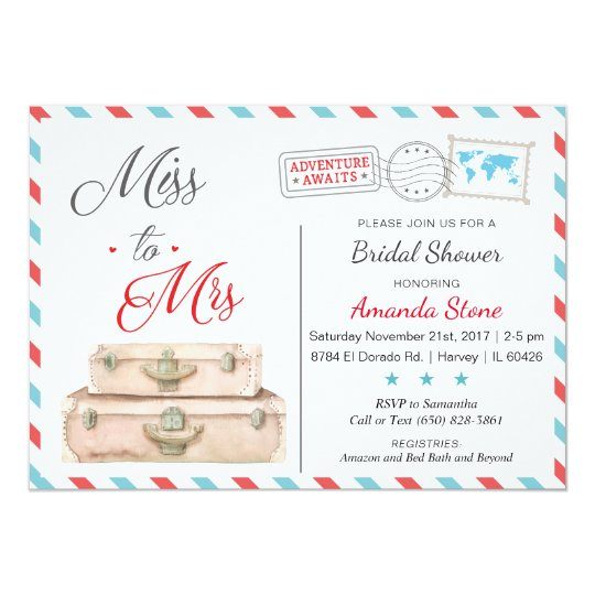 d6178a4a97e Airline Bridal Shower Invitations Red Blue Travel
