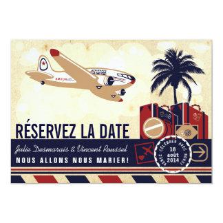 Airline Mariage de Destination Réservez la Date 5x7 Paper Invitation Card