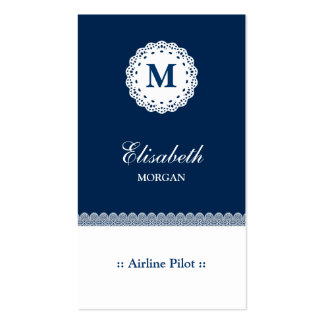 Airline Pilot Blue Lace Double-Sided Standard Business Cards (Pack Of 100)
