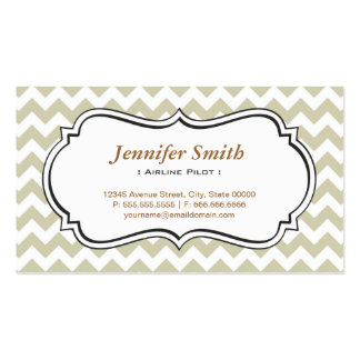 Airline Pilot - Chevron Simple Jasmine Double-Sided Standard Business Cards (Pack Of 100)