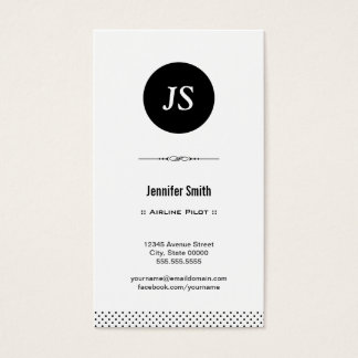 Airline Pilot - Clean Black White Business Card