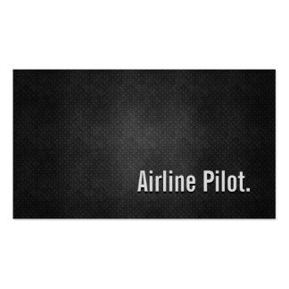 Airline Pilot Cool Black Metal Simplicity Double-Sided Standard Business Cards (Pack Of 100)