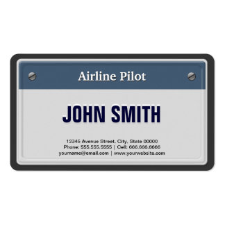 Airline Pilot Cool Car License Plate Double-Sided Standard Business Cards (Pack Of 100)