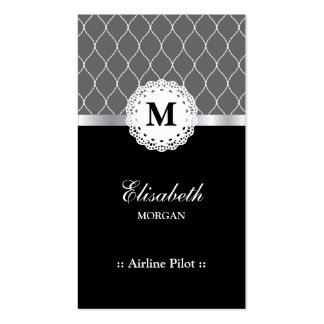 Airline Pilot Elegant Black Lace Pattern Double-Sided Standard Business Cards (Pack Of 100)