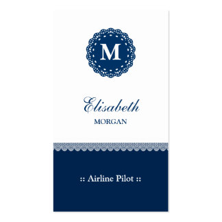 Airline Pilot Elegant Blue Lace Monogram Double-Sided Standard Business Cards (Pack Of 100)