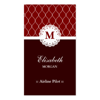 Airline Pilot Elegant Brown Lace Pattern Double-Sided Standard Business Cards (Pack Of 100)