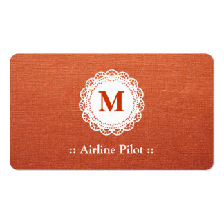 Airline Pilot Elegant Lace Monogram Double-Sided Standard Business Cards (Pack Of 100)