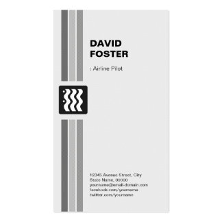 Airline Pilot - Modern Black White Double-Sided Standard Business Cards (Pack Of 100)