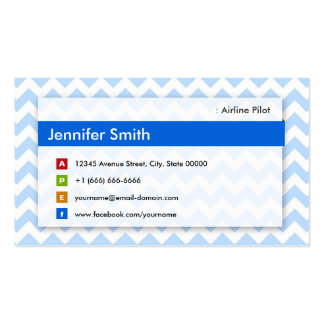Airline Pilot - Modern Blue Chevron Double-Sided Standard Business Cards (Pack Of 100)