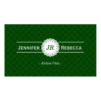 Airline Pilot - Modern Monogram Green Double-Sided Standard Business Cards (Pack Of 100)
