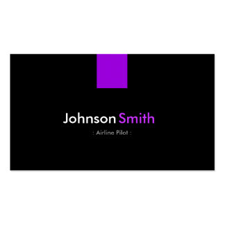 Airline Pilot - Modern Purple Violet Double-Sided Standard Business Cards (Pack Of 100)