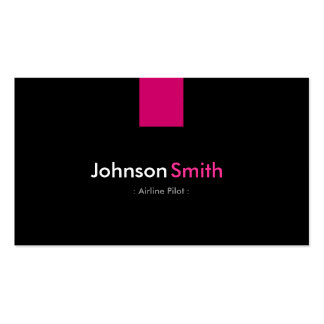 Airline Pilot Modern Rose Pink Double-Sided Standard Business Cards (Pack Of 100)