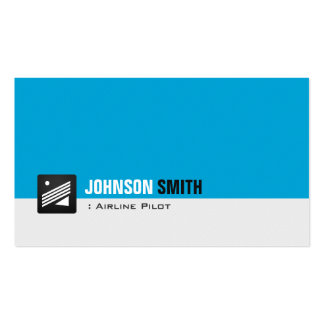 Airline Pilot - Personal Aqua Blue Double-Sided Standard Business Cards (Pack Of 100)