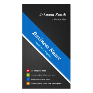 Airline Pilot - Premium Black Blue Double-Sided Standard Business Cards (Pack Of 100)
