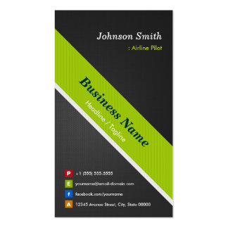 Airline Pilot - Premium Black Green Double-Sided Standard Business Cards (Pack Of 100)