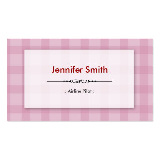 Airline Pilot - Pretty Pink Squares Double-Sided Standard Business Cards (Pack Of 100)