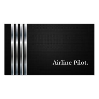 Airline Pilot Professional Black Silver Business Card