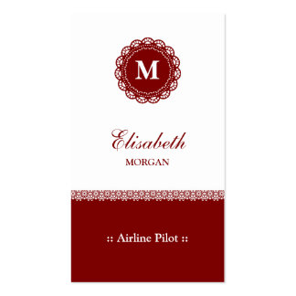 Airline Pilot Red Monogram Double-Sided Standard Business Cards (Pack Of 100)