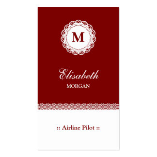 Airline Pilot Red White Lace Double-Sided Standard Business Cards (Pack Of 100)