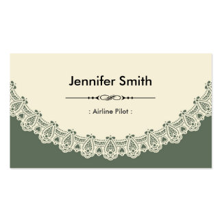 Airline Pilot - Retro Chic Lace Double-Sided Standard Business Cards (Pack Of 100)
