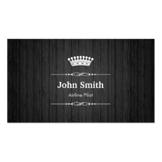 Airline Pilot Royal Black Wood Double-Sided Standard Business Cards (Pack Of 100)