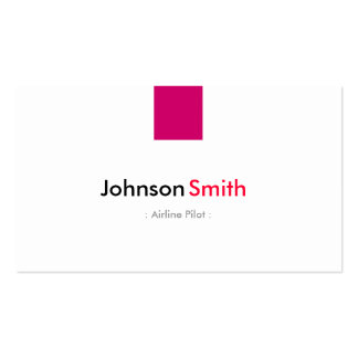 Airline Pilot - Simple Rose Pink Double-Sided Standard Business Cards (Pack Of 100)