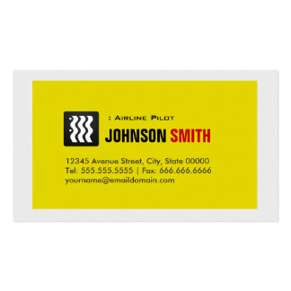 Airline Pilot - Urban Yellow White Double-Sided Standard Business Cards (Pack Of 100)