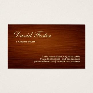 Airline Pilot - Wood Grain Look Business Card