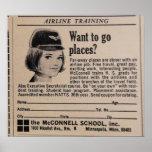 Airline Stewardess Retro Flight Attendant Poster