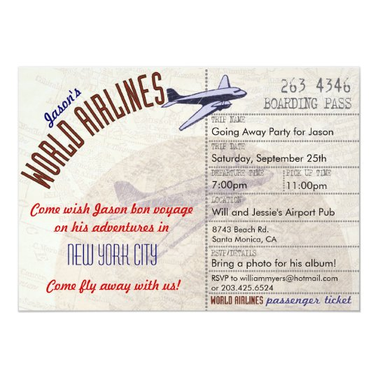 airline ticket bon voyage party invitation