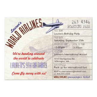 """Airline Ticket Destination Party Invitation 5"""" X 7"""" Invitation Card"""