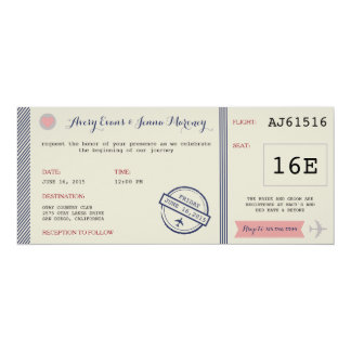Airline Ticket Destination Wedding Invitation