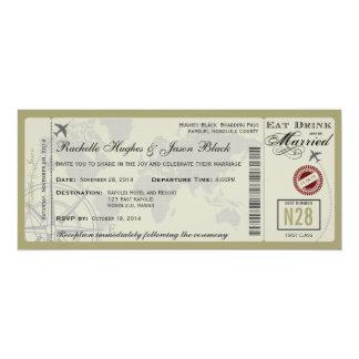 "Airline Ticket Wedding Invitation 4"" X 9.25"" Invitation Card"
