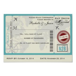 """Airline Ticket Wedding RSVP 3.5"""" X 5"""" Invitation Card"""
