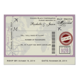 Airline Ticket Wedding RSVP Personalized Invitations
