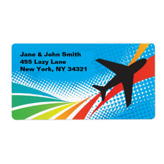 Airline Vacation Travel Abstract Halftone Label