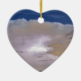 Airliner Lightning Strikes.jpg Double-Sided Heart Ceramic Christmas Ornament