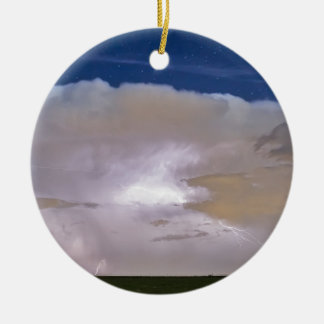 Airliner Lightning Strikes.jpg Double-Sided Ceramic Round Christmas Ornament