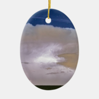 Airliner Lightning Strikes.jpg Double-Sided Oval Ceramic Christmas Ornament