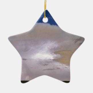 Airliner Lightning Strikes.jpg Double-Sided Star Ceramic Christmas Ornament