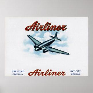 Airliner Vintage Cigar Box Label Poster