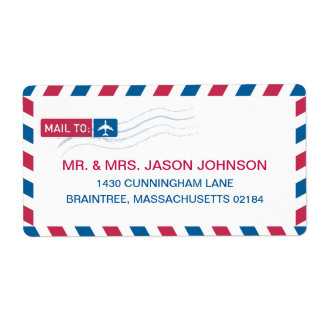 Airmail Address Mailing Label