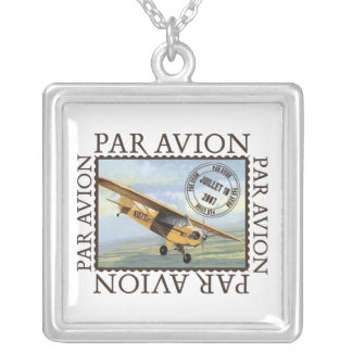 Airmail Airplane Square Pendant Necklace