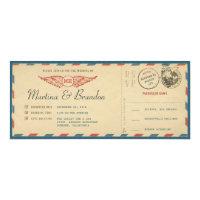 Airmail Boarding Pass Ticket Wedding Invitation