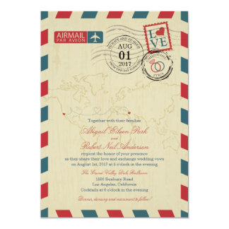 "Airmail California and Syria | Wedding 5"" X 7"" Invitation Card"