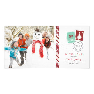 Airmail Candy Cane Holiday Family Photo Greeting Card