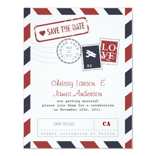 """Airmail Card Save the Date 4.25"""" X 5.5"""" Invitation Card"""