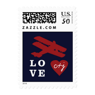 Airmail Destination Postage Stamp with Airplane