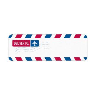 Airmail - DEVLIVER TO: Return Address Label
