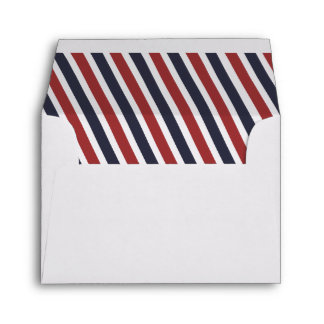 Airmail Diagonal Stripes Liner - Red and Navy Envelope